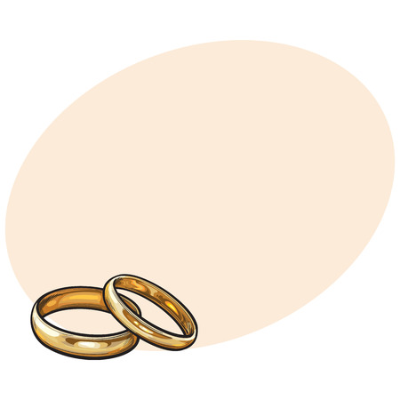 Pair of traditional golden wedding rings, sketch style illustration on background with place for text. Realistic hand drawing of golden rings for bride and groom, symbol of eternal love Illustration
