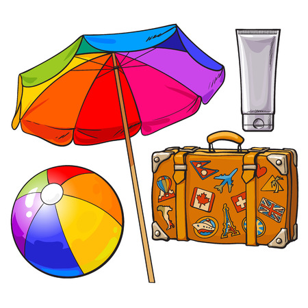 Set of summer time vacation attributes - umbrella, suitcase with stickers, sunscreen and ball, sketch style vector illustration isolated on white background. Set of summer objects, symbols, elements