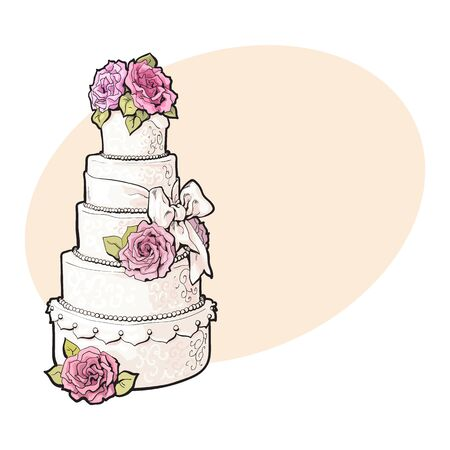 Traditional white tiered wedding cake decorated with pink marzipan roses, sketch style illustration on background with place for text. Layered wedding cake with five tiers, white icing and pink roses Illustration