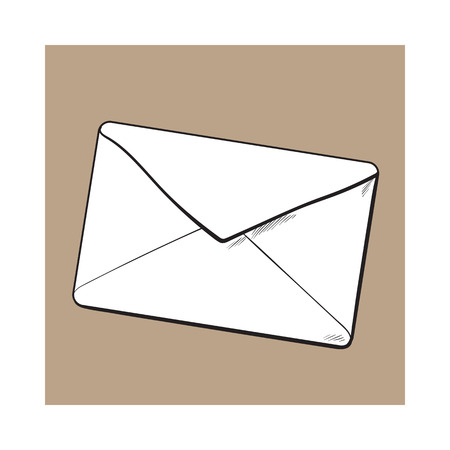enveloped: Backside of envelope, sketch vector illustration isolated on brown background. Hand drawing of enveloped with a lipstick kiss, love letter, romantic message