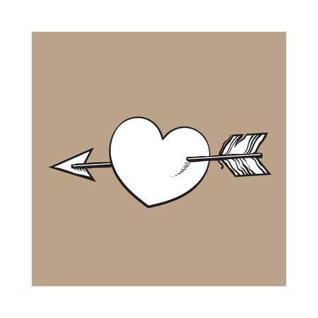 pierce: shiny cartoon heart pieced by Cupid arrow, sketch style illustration isolated on brown background. Heart pierced by arrow, symbol of love, romance and passion, marriage icon