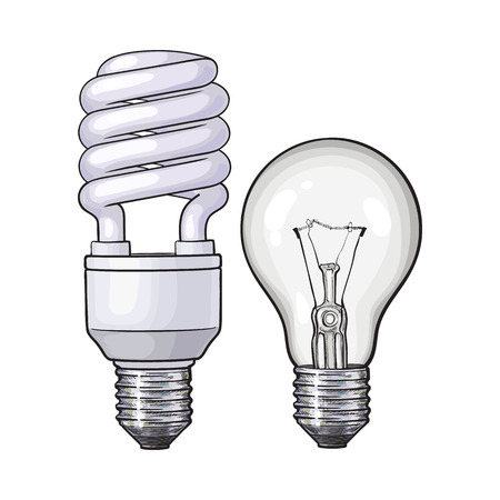 Modern fluorescent, energy saving and traditional tangsten light bulb, sketch style vector illustration isolated on white background. Realistic hand drawing of fluorescent and tungsten light bulbs