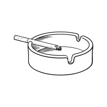 Weiß sauber und leer Aschenbecher aus Keramik mit einem einzigen brennende Zigarette, Skizze Vektor-Illustration auf weißem Hintergrund. Realistische Handzeichnung von einfachen weißen Aschenbecher mit einer brennenden Zigarette Vektorgrafik