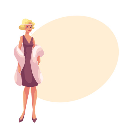 Young woman in 1920s cocktail dress at vintage party, cartoon vector illustration on background with place for text. Beautiful blond woman in cocktail dress and mantel, retro fashion Illustration