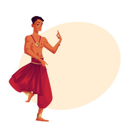 Indian male dancer in traditional harem pants, cartoon vector illustration on background with place for text. Traditional Indian male dancer wearing baggy pants and ankle brecelets Bollywood performer Illustration