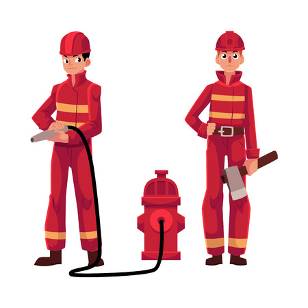 Firefighter, fireman in red protective suit holding fire hose and axe, cartoon vector illustration isolated on white background. Full length portrait of two firefighters, firemen at work Иллюстрация