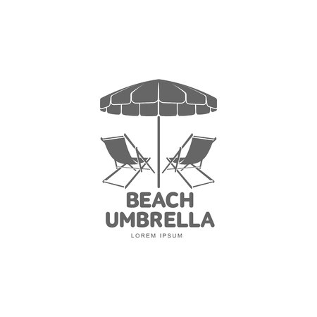 deck chair isolated: Logo template with beach umbrella and sun bathing lounge chair, vector illustration isolated on white background. Black and white graphic logotype, logo template with sunbathing chair and umbrella