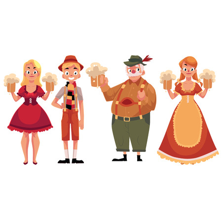 People in traditional German, Bavarian costume holding beer mugs, Oktoberfest, cartoon vector illustration isolated on white background. Full length portrait of German people in traditional costumes Stock Illustratie
