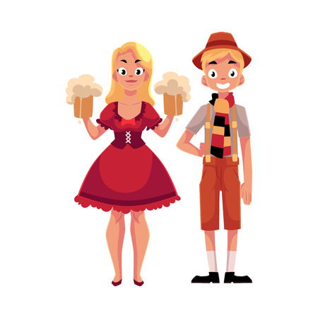 Young man and woman in traditional German, Bavarian, Austrian Oktoberfest costume holding beer mugs, cartoon vector illustration isolated on white background. German couple in traditional costume