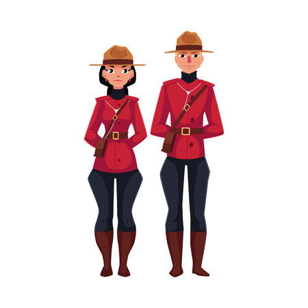 typical: Canadian male and female policeman in traditional uniform - scarlet tunic and breeches, cartoon vector illustration isolated on white background. Couple of young Canadian mounted policemen