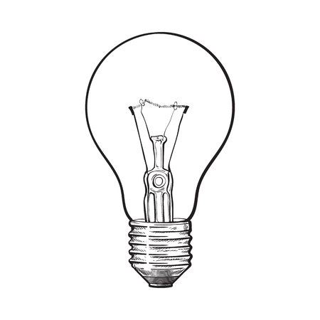 incandescent: Traditional transparent tungsten light bulb, side view, sketch style vector illustration isolated on white background. hand drawing of retro style transparent tungsten light bulb