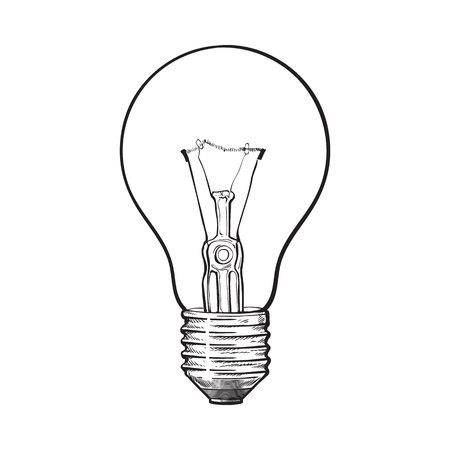 Traditionele transparante wolfram gloeilamp, zijaanzicht, schets stijl vectorillustratie geïsoleerd op een witte achtergrond. handtekening van retro-stijl transparante wolfraam gloeilamp Vector Illustratie