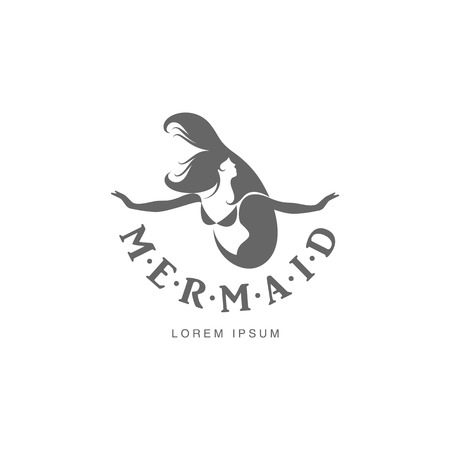 long haired: Stylized black and white graphic logo template with long haired mermaid turned profile, vector illustration isolated on white background. Black white stylized swimming mermaid logotype, logo design