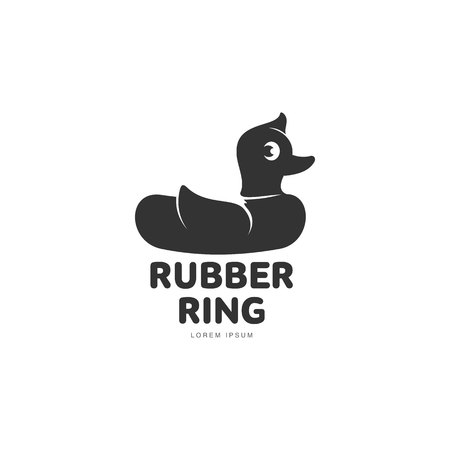 rubber ring: Logo template with rubber duck swimming ring, vector illustration isolated on white background. Silhouette, side view graphic dack shaped rubber ring logotype, logo design