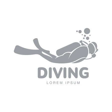 Black and white graphic diving logo template with diver swimming underwater, vector illustration isolated on white background. Scuba diving, snorkeling logotype, logo design with stylized diver