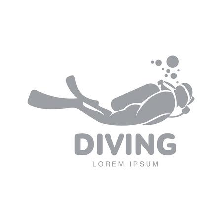 Zwart-wit grafisch duik logo sjabloon met duiker zwemmen onderwater, vectorillustratie geïsoleerd op een witte achtergrond. Duiken, snorkelen logotype, logo ontwerp met gestileerde duiker Logo