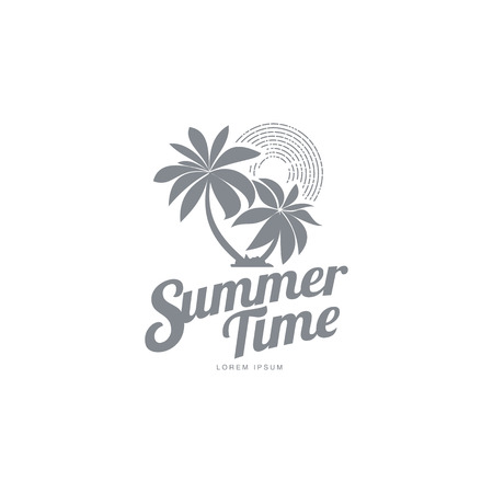 trees silhouette: Black white, silhouette logo template with two palm trees and stylized sky, vector illustration isolated on white background. Black white summer time logotype, logo template with tropical palms