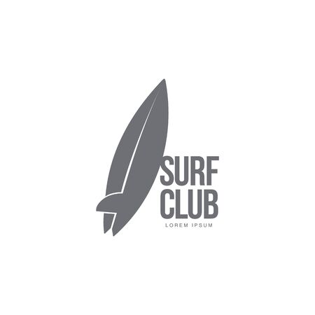 Black and white graphic surfing logo template with surfboard leaning on text, vector illustration isolated on white background. Graphic surfing board logotype, logo design