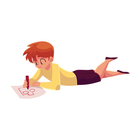 Little boy lying on the floor and drawing car, truck with a pencil, cartoon vector illustration on white background. Teenage boy drawing car with a red pencil lying on the floor and enjoying process Ilustrace