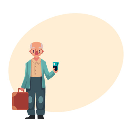 old suitcase: Old, senior, elder man in retro glasses holding suitcase and tickets in airport, cartoon illustration on background with place for text. Full length portrait of senior man travelling with old suitcase Illustration