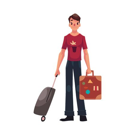 Young man with two suitcases - modern and retro, in jeans and t-shirt, cartoon illustration isolated on white background. Airplane passenger with two suitcases, going to, from vacation Illusztráció