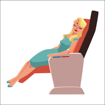 taking nap: Beautiful blond lady, woman sleeping, taking a nap in airplane business class seat, cartoon vector illustration on white background. Young glamorous woman seating and sleeping in business class