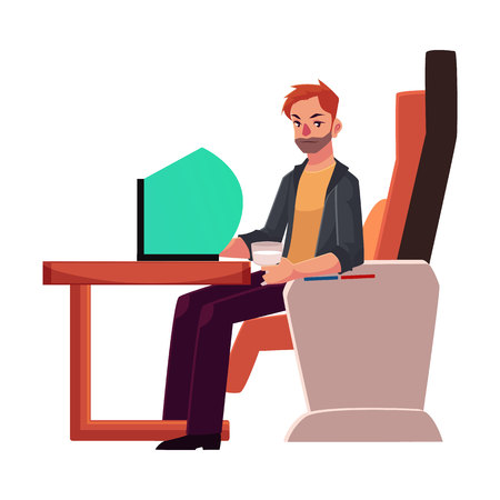 Young unshaved man working on his laptop in business class airplane seat, cartoon vector illustration on white background. Male passenger, young man seating in airplane business class with laptop Illustration