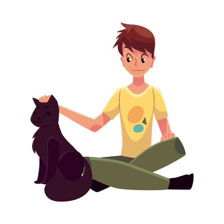 affectionate: Teenage boy sitting on the floor and stroking a big black cat, cartoon vector illustration on white background. Front view, full length portrait of boy sitting and gently stroking a black cat