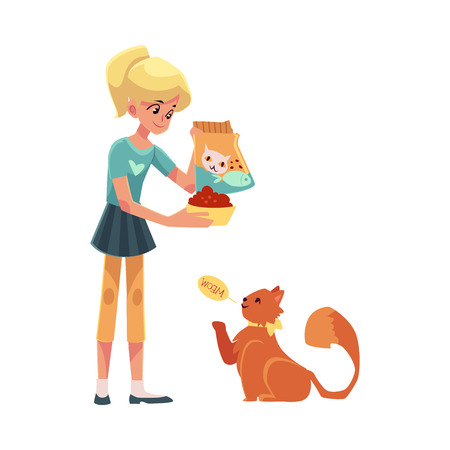 long haired: Teenage girl giving food to her fluffy red cat, cartoon vector illustration on white background. Full length portrait of blond girl feeding her red, long haired cat Illustration