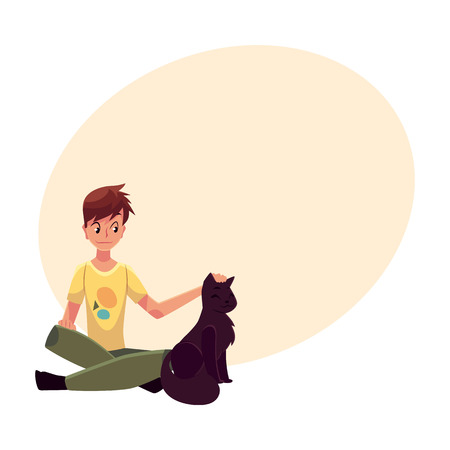 Teenage boy sitting on the floor and stroking a big black cat, cartoon vector on background with place for text. Front view, full length portrait of boy sitting and gently stroking a black cat Illustration