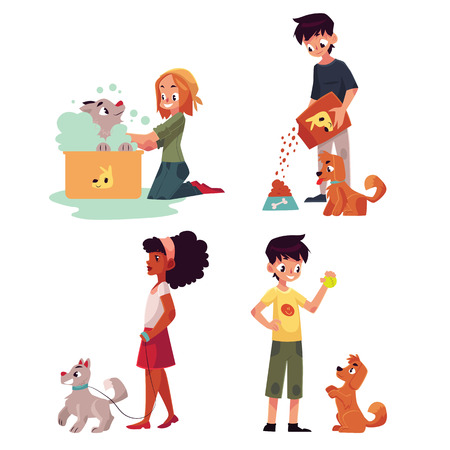 Happy kids feeding, washing, walking a dog, playing with puppy, cartoon vector illustration on white background. Set of children with dog, puppy - playing with it, washing, feeding, walking 向量圖像