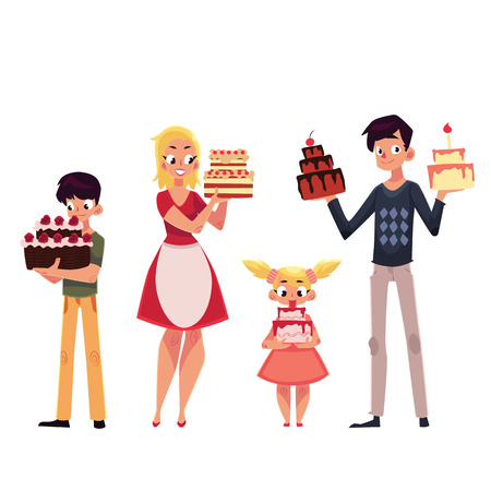 Family members, father, mother, son and daughter holding birthday cake, cartoon vector illustration isolated on white background. Full length portrait of man, woman, boy, girl holding birthday cake Ilustração