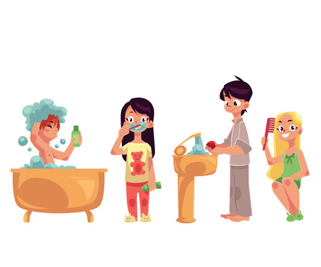 Kids, children taking bath, brushing teeth, washing hands, combing hair, hygiene concept, cartoon vector illustration isolated on white background. Kids doing daily hygiene routines