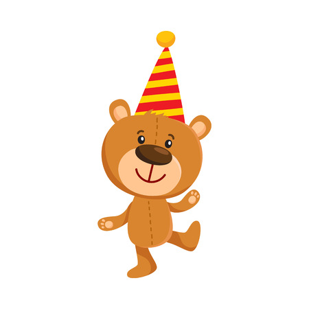 Cute traditional, retro style teddy bear character in birthday cap, cartoon vector illustration isolated on white background. Teddy bear character celebrating birthday