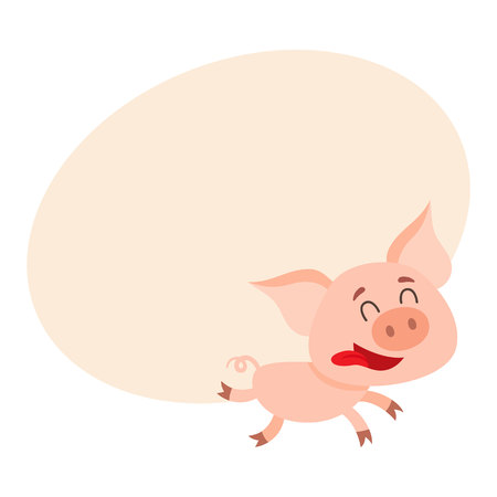 Funny little pig running with tongue out and eyes closed, cartoon vector illustration on background with place for text. Cute little pig running on four legs excitedly, decoration element
