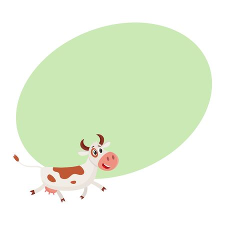 pastoral: Funny brown and white spotted cow character pointing to something and talking, cartoon vector illustration on background with place for text. Funny cow character drawing attention to something