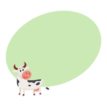 Funny black white spotted cow standing and looking back, cartoon vector illustration on background with place for text. Funny cow character with head turned back, dairy, farm concept