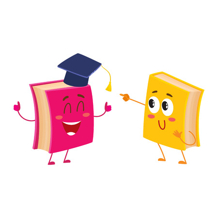 Two funny book characters running happily together, cartoon vector illustration isolated on white background. pink and yellow books hurrying, smiling, running together, school, education concept Illustration