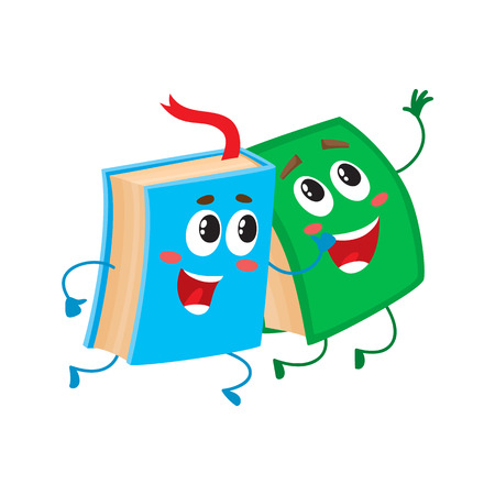 hurrying: Two funny book characters running happily together, cartoon vector illustration isolated on white background. Blue and green books hurrying, smiling, running together, school, education concept