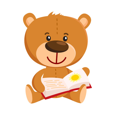 Cute traditional, retro style teddy bear character sitting and reading a book, cartoon vector illustration isolated on white background. Teddy bear character reading book Illustration