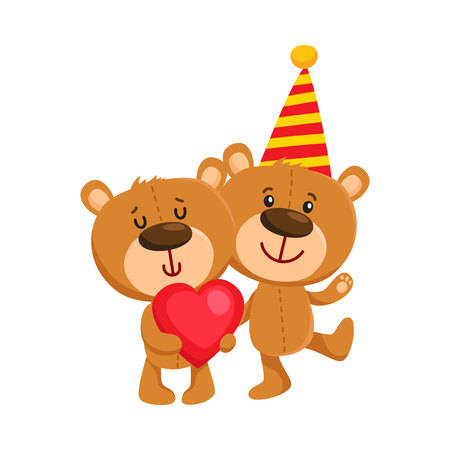 Two cute retro style teddy bear characters, standing in birthday cap and with big red heart, cartoon vector illustration isolated on white background. Teddy bear character, birthday party Illustration