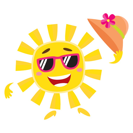 Summer Sun Character In Sunglasses Holding Straw Hat And Smiling
