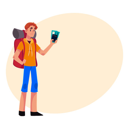 Young traveler, backpacker, hitchhiker standing and holding tickets and passport, cartoon illustration with place for text. Young man with backpack, passport and tickets ready for flight Illustration