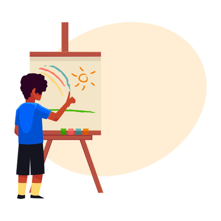 Little boy painting sun and rainbow on easel with his fingers, cartoon vector with place for text. Teenage boy standing and finger-painting, drawing, painting sun and rainbow on easel