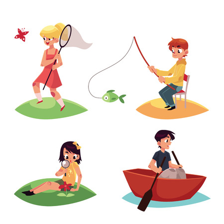 Kid Chasing Buttterflies Fishing Kayaking And Watching Flowers In Summer Cartoon Vector Illustration