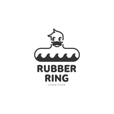 rubber ring: Logo template with rubber duck swimming ring, front view, vector illustration isolated on white background. Graphic dack shaped rubber ring with stylied waves logotype, logo design
