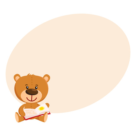 Cute traditional, retro style teddy bear character sitting and reading a book, cartoon vector illustration with place for text. Teddy bear character reading book