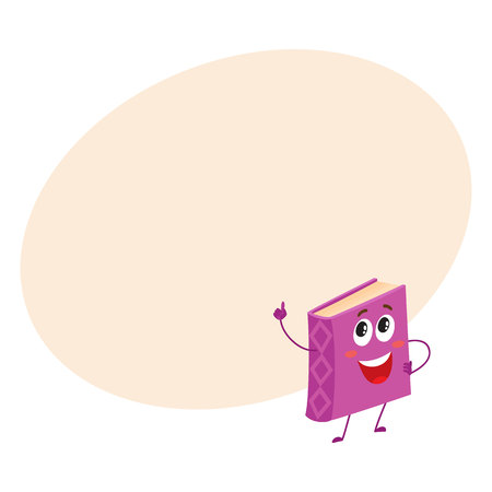 index finger: Funny book character pointing up with index finger, cartoon vector illustration on background with place for text. Purple, violet book pointing up and standing proudly, school, education concept