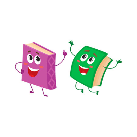 hurrying: Two funny book characters running happily together, cartoon vector illustration isolated on white background. purple and green books hurrying, smiling, running together, school, education concept