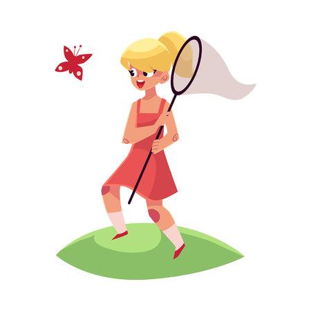 純、夏バカンス概念、白い背景で隔離の漫画ベクトル図とかわいらしい少女キャッチ蝶。バタフライ ネットで女の子の完全な長さの肖像画  イラスト・ベクター素材